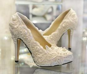 Hot Wedding Shoes Lace Pearls Custom made 10cm Shoes heel Fashion Handmade High Quality Bridal Wedding Accessories