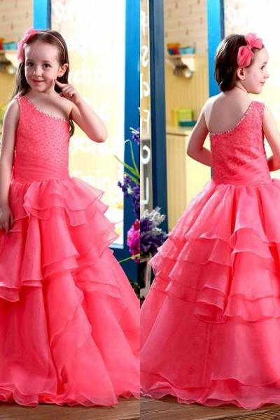 Hot Sale Girls Pageant Dresses 2016 One Shoulder Ruffles Beading Organza Flower Grls Dress Custom made