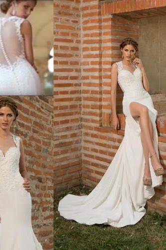 Fashion 2016 Wedding Dresses Sweetheart Lace Appliques Side Split Sweep Train Garden Bridal Gowns High Quality